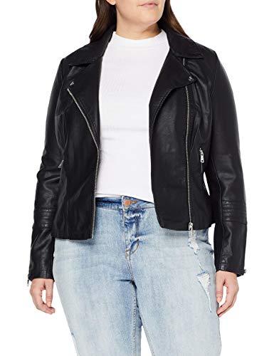 ONLY Carmakoma NOS Damen CAREMMY Faux Leather Biker NOOS Jacke, Schwarz (Black Black), (Herstellergröße: 48)