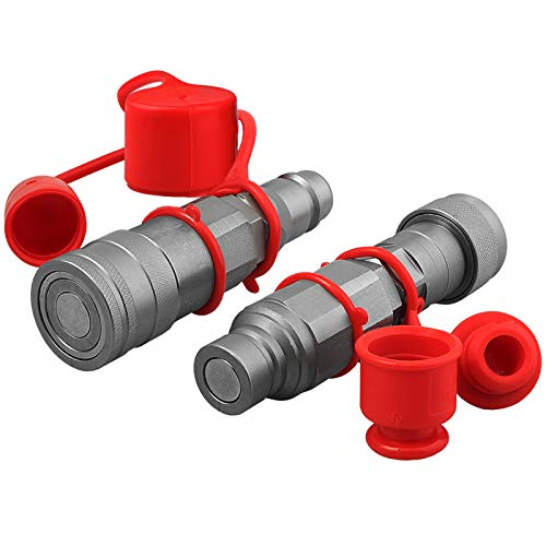 Flat Face ISO 16028 to Ag ISO 5675 Pioneer Style Hydraulic Quick Connect Coupler Adapter Set W/Dust Caps