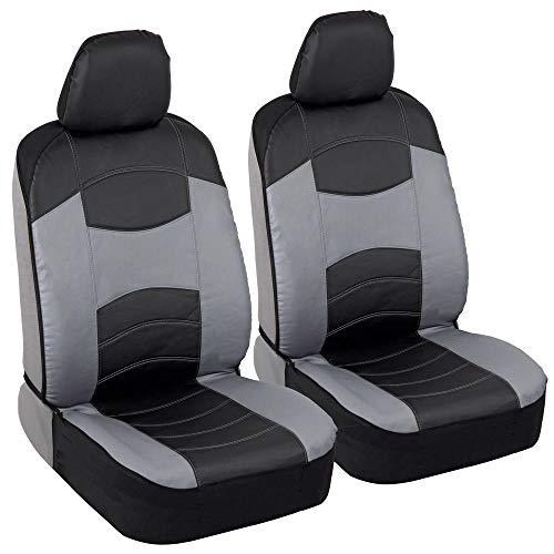 BDK Sideless Faux Leather Car Seat Covers, Front Seats Only – Two-Tone Front...