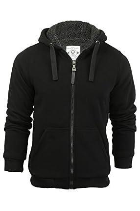 Brave Soul Zone Sherpa - Chaqueta con capucha y cremallera para hombre, forro polar negro X-Large