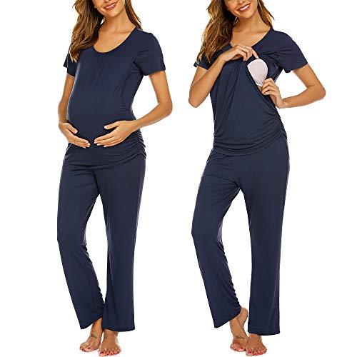 Ekouaer Women Layered Maternity & Nursing Pajama Set Cotton Hospital PJS Set Pregnancy Breastfeeding Sleepwear Navy Blue XL