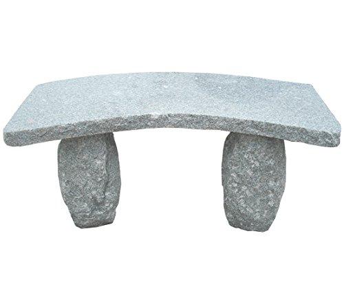 Dehner Gartenbank gebogen, 2-Sitzer, ca. 100 x 40 x 45 cm, Granit, grau