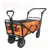 Portátil Plegable Mano Push Rod Coche Supermercado Compras Pesca Al Aire Libre Camping Retrato Pull Carro Pet Coche (Color : Orange/Gray)