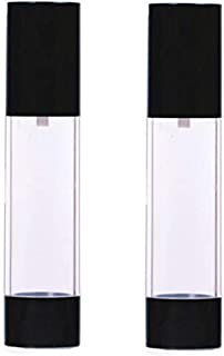 2Pcs Black Empty Refillable Plastic Airless Pump Bottle Airless Vacuum Pump Cream Lotion Make Up Bottle Jars Toiletries Liquid Container Lightweight Leak Proof For Home and Travel Use(50ml/1.7oz)