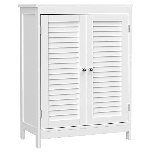 VASAGLE Badezimmerschrank, Badschrank, Aufbewahrungsschrank mit 2 Türen, mit 2 verstellbaren Regalebenen, skandinavischer Stil, weiß BBC340W01