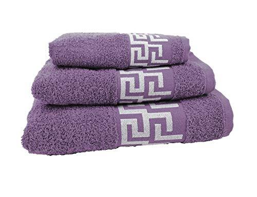 Forentex Handdoekensets (Ref VSC-500G) Veelzijdig te gebruiken voor badkamer, douche, wastafel, strand, 100% katoen/katoen, paars, 3 stuks 30 x 50, 50 x 90.100 x 140 cm