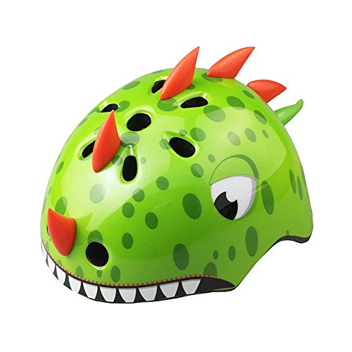 Amur Leopard Casque Enfant Protection Réglable vélo Rollers Patinage Scooter Cosplay Animal, Dinosaure Vert, S (50-54cm)