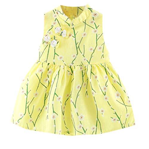 Longra jurk voor meisjes, kinderen, bloemenjurk, zacht, mouwloos, bloem, prinses, vintage, bohème, kort, mini-jurk, casual, voor baby's, zomers, strandjurk, meisjes, kinderen