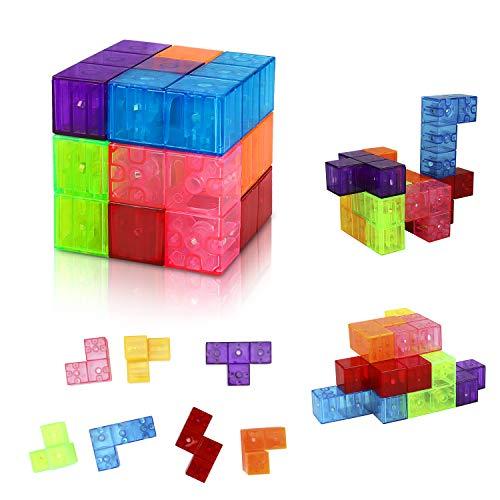welltop Magnetische Bausteine Würfel Magnetische Steine für Kinder mit 7 Smarte Teile Puzzles 3D Gehirn Training Intelligenz Stressabbau Spielzeug Spiele Quadratische Magnete Würfel (7 Stücke)