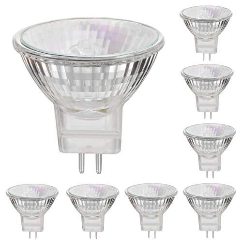 MR11 12V 20W Halogenlampen Reflektor GU4 Sockel Spotstrahler 2800K Warmweiß, dimmbar 4000 Stunden Langzeit - 8er Pack