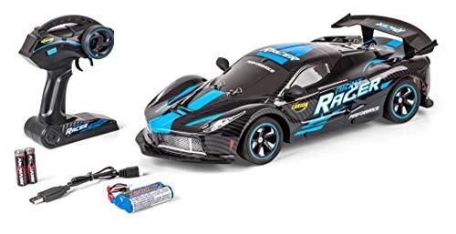 Carson 500404219 1:10 Night Racer 2.4GHz 100% RTR blau, Ferngesteuertes Auto, LED-Beleuchtung, inkl. Batterien und Fernsteuerung, Fahrzeit ca. 20 min