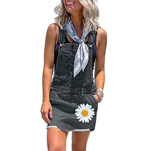 Shujin Damen Sommer Jeanskleid Latzrock Denim Jeansrock Minirock Verstellbar Träger Latzkleid Overall Kurz Jumpsuit Lässig Playsuit mit Taschen