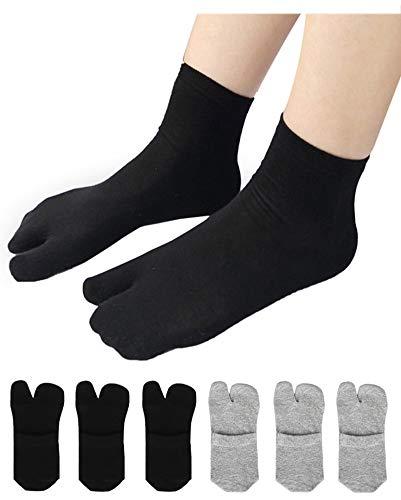 Damen Solid 2 Toe Flip Flop Tabi Socken Geta Knöchel Baumwolle 5/6 Paar - - Einheitsgröße