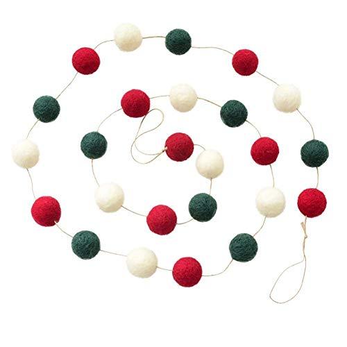 Fieltro de Lana Corona de Navidad Decoración de la Puerta Adorno Colgante Mini árbol de Navidad Guirnalda Adorno de Mesa Corona de adviento Corona (Color: Blanco)