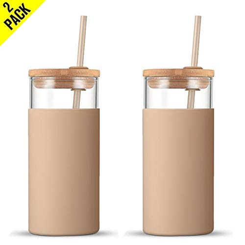 Tronco 20oz Glass Tumbler Glass Water Bottle Straw Silicone Protective Sleeve Bamboo Lid - BPA Free (Amber/ 2-Pack)