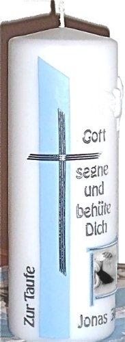 Taufkerze mit Namen, Taufspruch, Foto & Taufdatum für Jungs - babyblau - 200 x 70