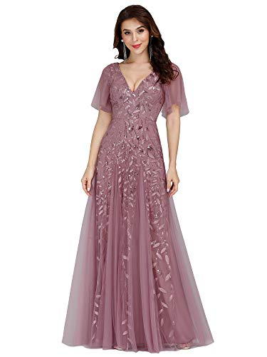 Ever-Pretty Women's Deep V-Neck Formal Party Gowns Embroidery Applqiues Cockatil Dress Orchid US10