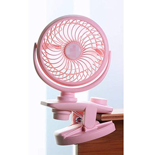 WSJ - Ventilador eléctrico pequeño con cabeza de sacudidor automático, pequeño, recargable, portátil, silencioso, 10 x 15 x 21 cm, color rosa