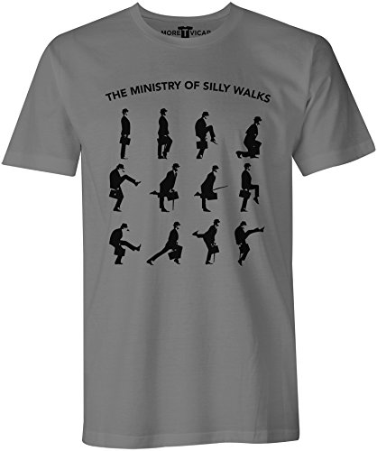 More T Vicar Men's The Ministry of Silly Walks - Monty Python T Shirt XXL Charcoal Grey