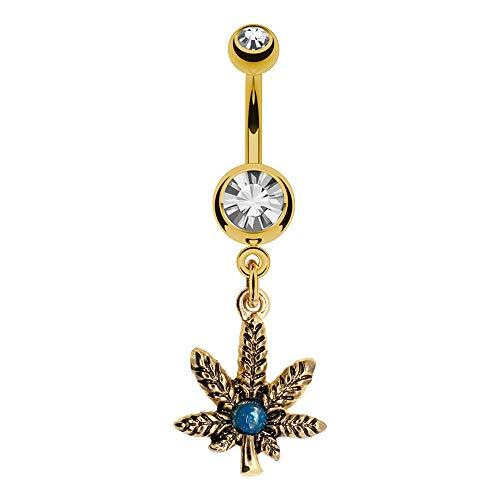 Pierce2GO Gold Marijuana Leaf Belly Button Ring