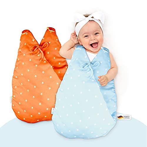 MiKaKid Ganzjahres Babyschlafsack – Schlafsack für Baby - 100% Baumwolle [Gr. 50/52 & 62/68] – Oeko-TEX® Zertifiziert – flauschig & weich - wattierter Baby Schlafsack rot & blau
