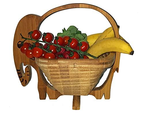 Corbeille de Fruits Design : Éléphant Eléphant Vache Lady,Belle Panier Pliant Bambou 30 X 30 cm Meubles en Bois Bol à Dekoschale Pliable Légume Fruits,Idéal Également comme dessous pour Pots,Poêles