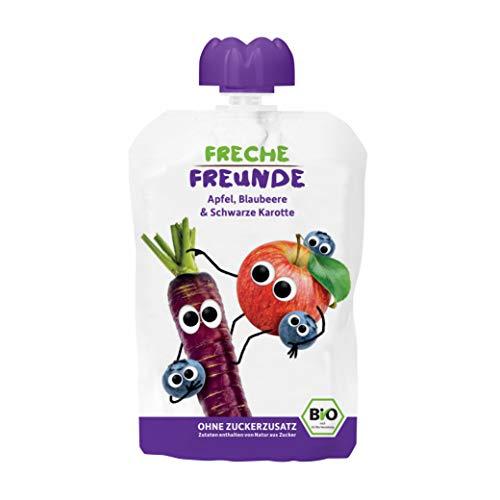 FRECHE FREUNDE Bio Quetschie Apfel, Blaubeere und Schwarze Karotte, Fruchtmus mit Gemüse im Quetschbeutel für Babys ab 1 Jahr, glutenfrei & vegan, 6-er Pack (6 x 100 g)