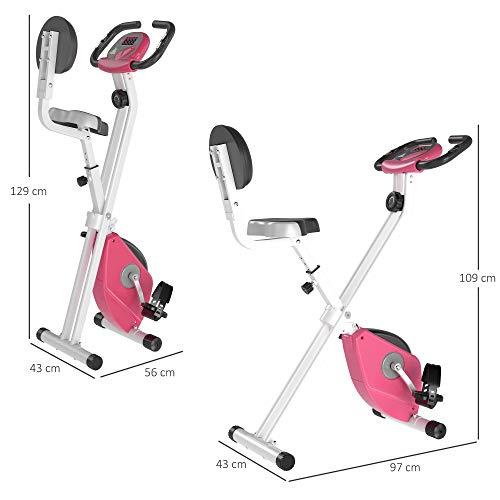 41QluS+D9JL - HOMCOM Bicicleta Estática para Ejercicios Profesional Bicicleta Vertical Plegable de Forma X con 8 Niveles Resistencia Magnética Asiento con Altura Ajustable Acero 43x97x109 cm Rosa