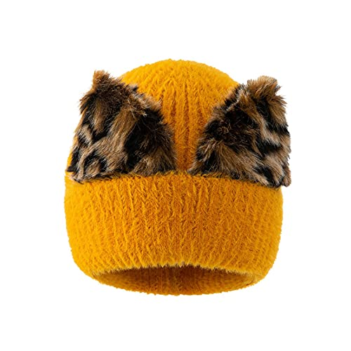 LULUZ Women's Warm Beanie Faux Pom Warm Knit Cap with Leopard Ear Design Solid Color Soft Comforty Winter Protective Hats Yellow
