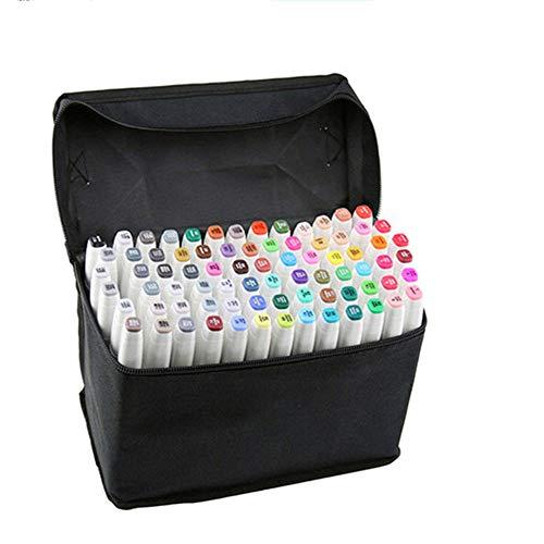 Artista Necessario grafico pennarello Double Ended Finecolour Sketch Marker largo e punta fine punta con il sacchetto nero (Bianchi 40 colori)