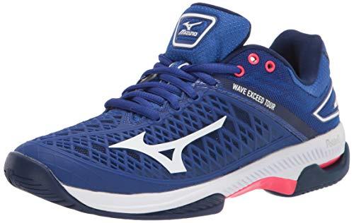 Mizuno Women#039s Wave Exceed Tour 4 All Court Tennis Shoe BlueWhite 8