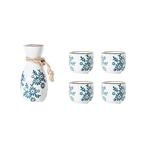 Maya Star - Juego de tazas de sake japonés, diseño tradicional, diseño de oro, porcelana, cerámica, cerámica, copas de vino A13
