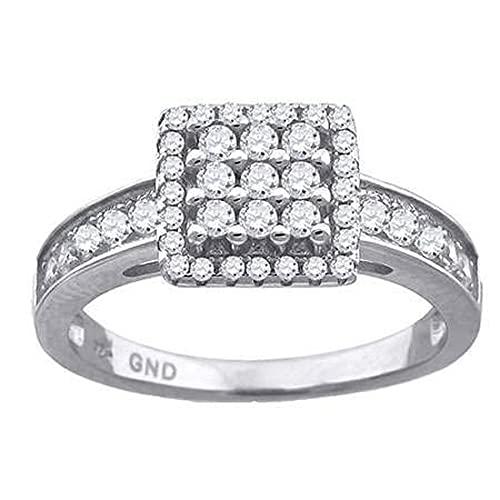 JewelryWeb Mujer 0.925 plata de ley cuadrada