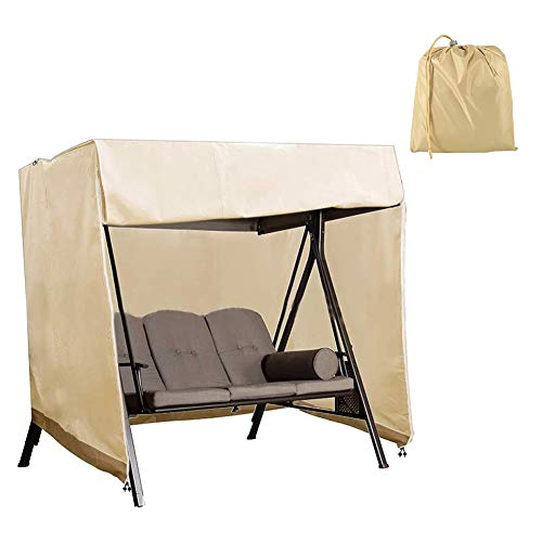 HEWYHAT Outdoor Swing Cover Waterproof, 2/3 Seater Hammock Cover, Glider Canopy Replacement Cover, Patio Furniture Cover, All Weather Protection,Beige+Coffee,160×120×170CM