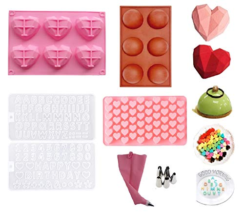 Silicone Heart Shaped Chocolate Mold Diamond Love Mousse Cake Mold Chocolate Baking Pan Z Letters/Numbers DIY for Cake Decoration Making Candy Chocolate