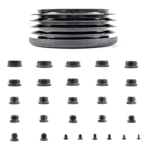 Plastic End Caps. Ribbed Inserts for Round Tubes. Made in Germany (Black, Suitable for Tubes with 40mm Outside Diameter with 1.5mm to 2mm Wall Thickness- See Second Image, Pack of 4)