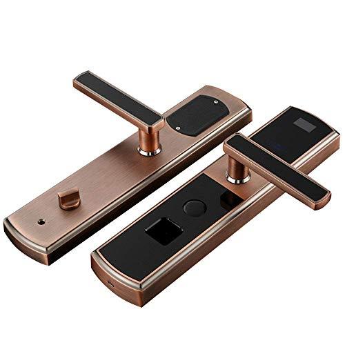 Smart Door Lock d'empreintes digitales intelligente par mot de passe de zinc en alliage de bronze Porte anti-vol intelligent d'empreintes digitales par mot de passe à pêne dormant, alliage, brun, Tail