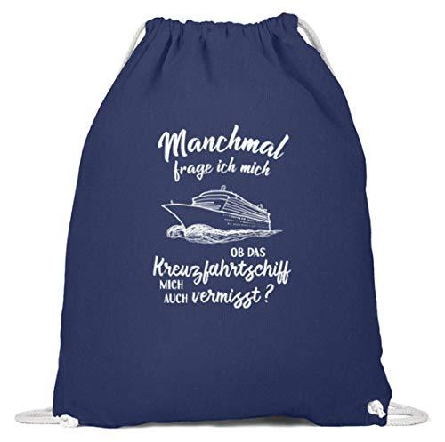 shirt-o-magic Schiffsreise: Vermisst mich das Schiff? - Baumwoll Gymsac -37cm-46cm-Marineblau