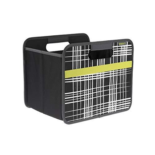 meori Faltbox Classic Small Lava Schwarz/Brushed Lines 32x26,5x27,5cm stabil abwischbar Polyester Retro Design Regal mit Griffen Klappbox Verstauen Ordnungslösung Organizer Wohntrend