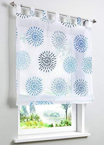 ESLIR Raffrollo mit Schlaufen Gardinen Küche Raffgardinen Transparent Schlaufenrollo Vorhänge Kreis-Motiven Modern Voile Blau BxH 100x140cm 1 Stück