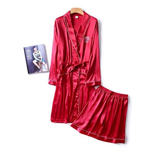 DUJUN Morgenmantel Kimono mit Taschen Bademantel Satin Kurz Robe Nachthemd,Seide Herren weich und glatt weinrot XXL