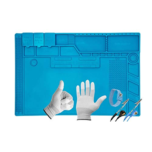 Minadax XL Lötmatte 48 x 31.8cm + Handgelenkschlaufe + Handschuhe - Silikonmatte 500°C Hitzebeständige Reparaturmatte - Rutschfest