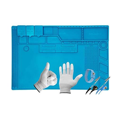 Minadax - Tappetino per saldare, misura XL, 48 x 31,8 cm, con cinturino da polso e guanti, in silicone, 500 °C, resistente al calore, antiscivolo