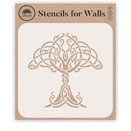 Celtic Tree of Life Stencil, 6.5 x 6.5 inch (L) - Traditional Irish Knotwork Tree Design Stencils Template for Painting
