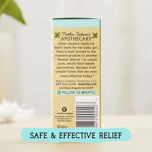 Maty's Organic Baby Teething Oil – Soothes Swollen Gums & Relieves Pain for Teething Babies, Made with Clove and Lavender Oil – .75 fl oz