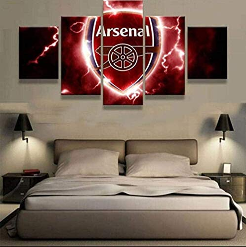 Ofi915 Panels Wall Art Poster Living Room Bedroom Home Decoration Ready to Hang -Arsenal-Football-5 Pieces Canvas Paintings Prints Modern Framed Artwork Pictures