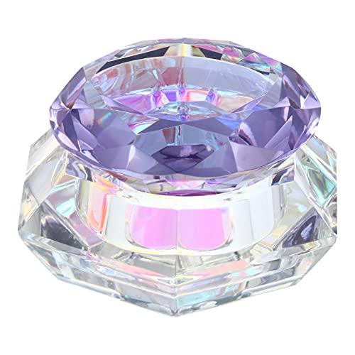 Minkissy Nail Art Plat En Verre Liquide Poudre Dappen Plat Pot En Verre Cristal Tasse avec Diamant Forme Couvercle pour Nail Gel Polish Brillant à Lèvres Crème Violet