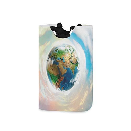 LOSNINA Wäschesammler Wäschekorb Faltbarer Aufbewahrungskorb,Earth Vibrant Planet Continents Drucken,Wäschesack - Wäschekörbe - Laundry Baskets