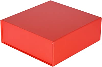 Easy Christmas Cherry Red Large Gift Box 10 x 10 x 3inches | Set of 3