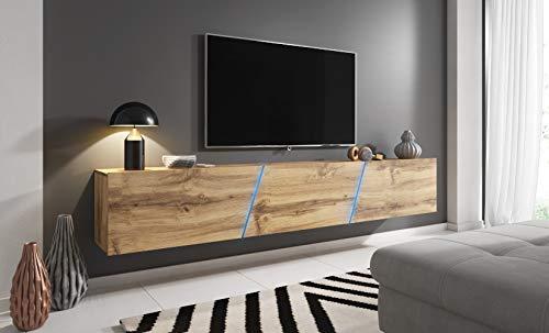 SPACE TV Lowboard Eiche Wotan Hängend/Stehend XXL Board 240 cm mit LED Beleuchtung RGB